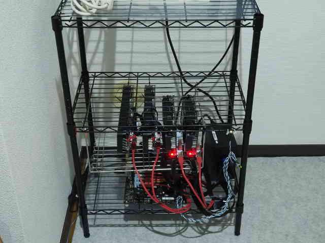 マイニング用のマシンのリグをメタルラックで組立てる!