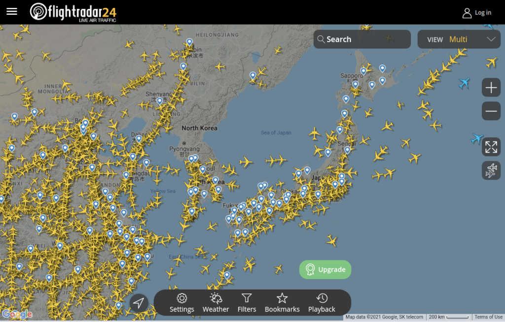 全世界の航空機の位置を追跡する!(frightradar24)